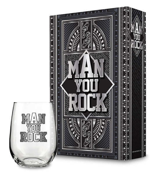 Man You Rock Gift Box with Man You Rock Wine Glass Collectio ...