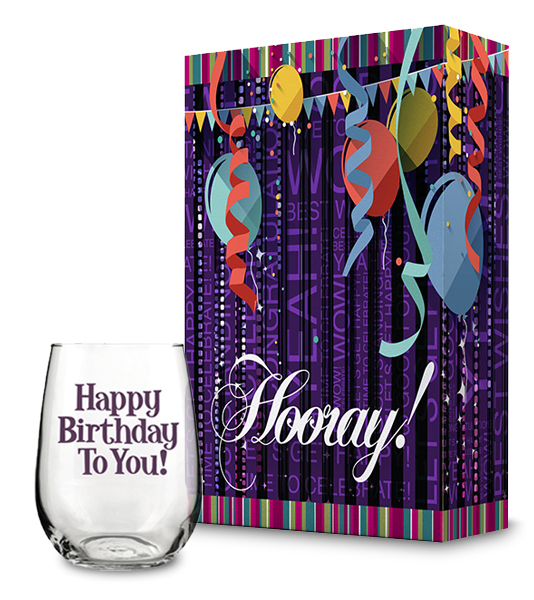 Hooray Gift Box and Happy Birthday Wine Glass Collection