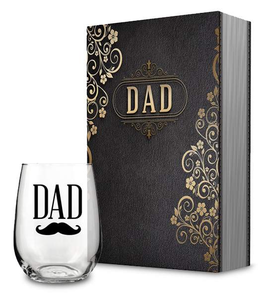 Dad Gift Box and Dad Stemless Wine Glass Collection