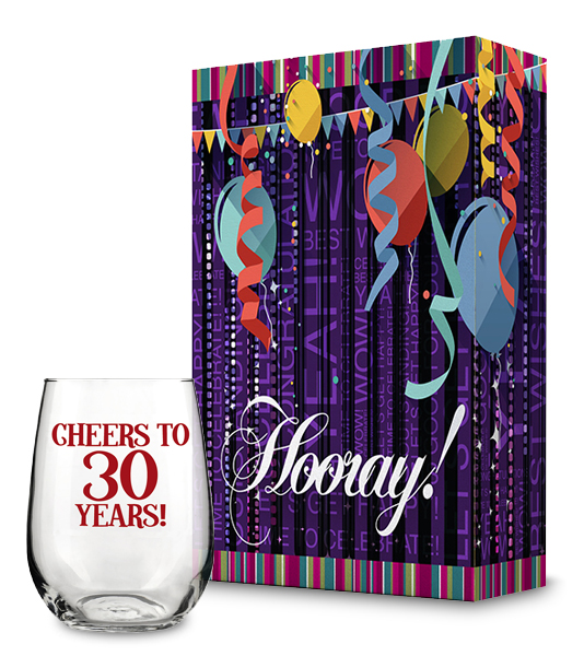 Hooray Gift Box and Cheers to 30 Years Wine Glass Collection