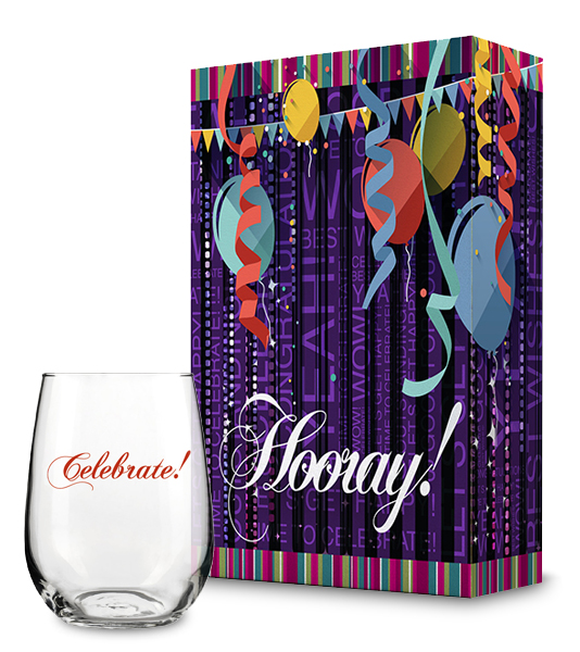 Hooray Gift Box and Celebrate Wine Glass Collection