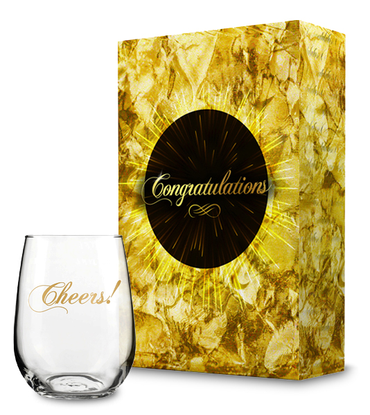 Congratulations Gift Box with Cheers! Wine Glass Collection